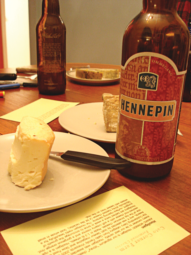 Ommegang Hennepin (Saison) and Hooligan Cato Corner Farm cheese